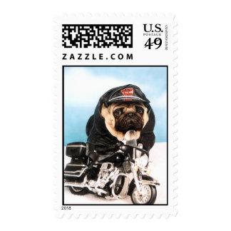 Biker Pug Dog Stamp