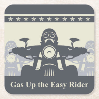 Biker Rally Disposable Coaster, Motorcycle Theme Square Paper Coaster
