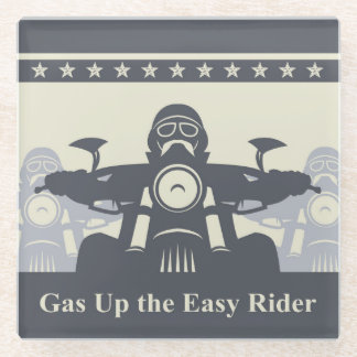 Biker Rally Easy Rider Glass Coasters, Motorcycle Glass Coaster
