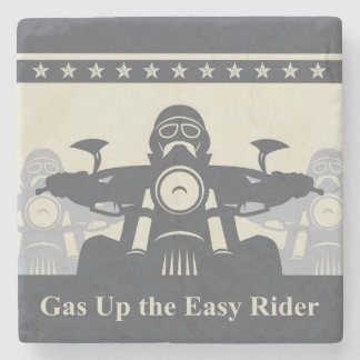 Biker Rally Marble Stone Coaster, Motorcycle Theme Stone Coaster