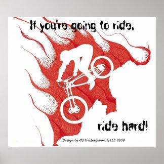 Biker Ride Hard Poster