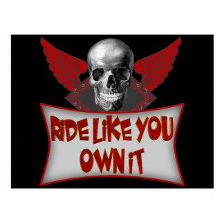 Biker Ride Like You Own It T shirts Gifts Postcard