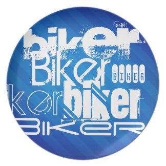 Biker; Royal Blue Stripes Dinner Plate
