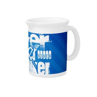 Biker; Royal Blue Stripes Drink Pitchers