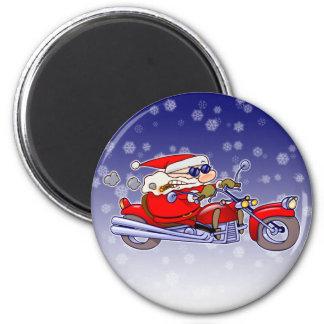 Biker Santa 2 Inch Round Magnet