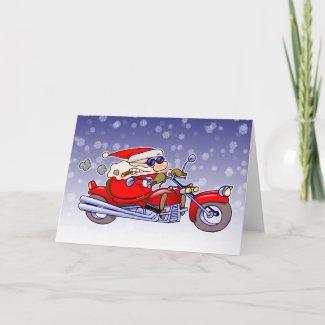 Biker Santa card