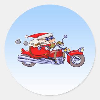 Biker Santa Classic Round Sticker