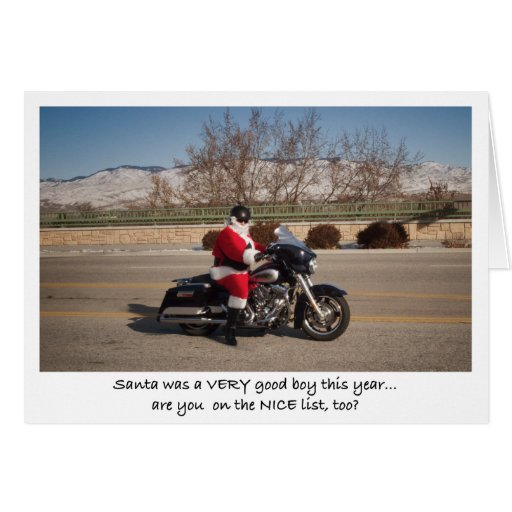 Biker Santa Claus Good Boy Greeting Cards