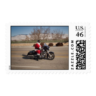 Biker Santa Claus Motorcycle postage