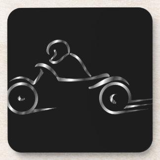 Biker showing road safety coaster