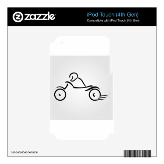 Biker showing road safety iPod touch 4G skin