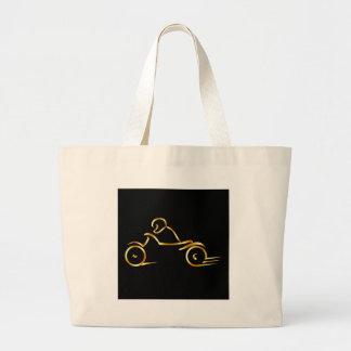 Biker showing road safety large tote bag