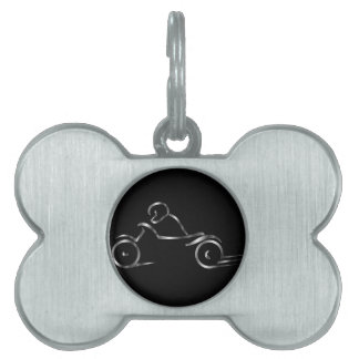 Biker showing road safety pet ID tag