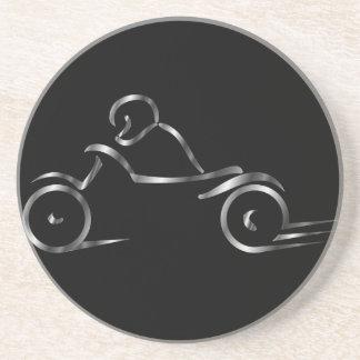 Biker showing road safety sandstone coaster