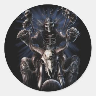 Biker Skeleton Classic Round Sticker