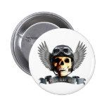 Biker Skull A Pin Redondo De 2 Pulgadas
