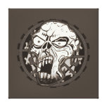 Biker Skull Art Wrapped Canvas Stretched Canvas Print