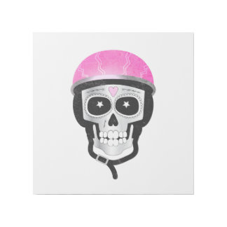 Biker Skull Funny Halloween or Day of the Dead Gallery Wrap
