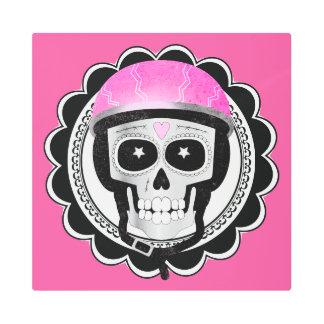 Biker Skull Funny Halloween or Day of the Dead Metal Print