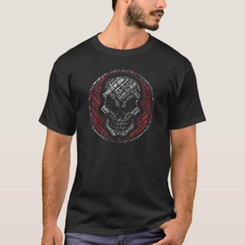 Biker Skull Word Art Circle Motorcycle T-Shirt
