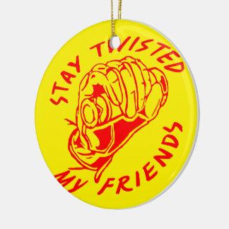 Biker Stay Twisted My Friends Ceramic Ornament