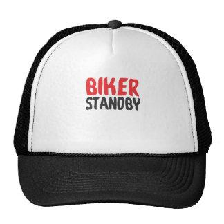 Biker stood by trucker hat