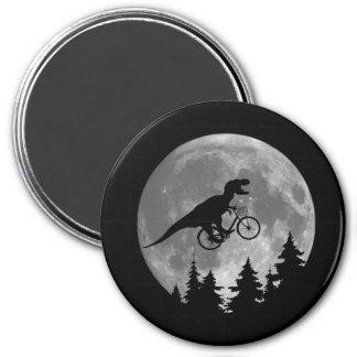 Biker t rex In Sky With Moon 80s Parody 3 Inch Round Magnet