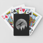 Biker t rex In Sky With Moon 80s Parody Bicycle Playing Cards