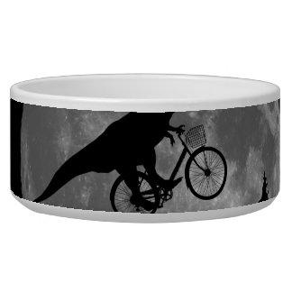 Biker t rex In Sky With Moon 80s Parody Bowl