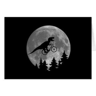 Biker t rex In Sky With Moon 80s Parody Card
