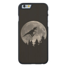 Biker T Rex In Sky With Moon 80s Parody Carved Maple Iphone 6 Case at Zazzle