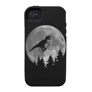 Biker t rex In Sky With Moon 80s Parody Vibe iPhone 4 Covers