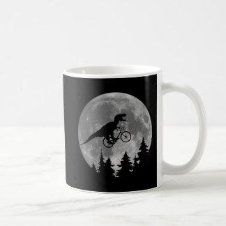 Biker t rex In Sky With Moon 80s Parody Classic White Coffee Mug