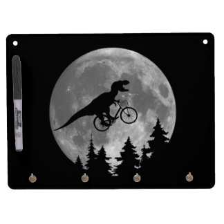 Biker t rex In Sky With Moon 80s Parody Dry Erase Board With Keychain Holder