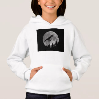 Biker t rex In Sky With Moon 80s Parody Hoodie