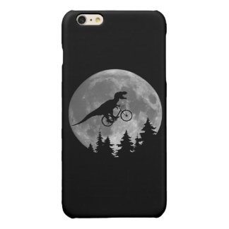 Biker t rex In Sky With Moon 80s Parody Glossy iPhone 6 Plus Case