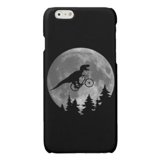 Biker t rex In Sky With Moon 80s Parody Glossy iPhone 6 Case