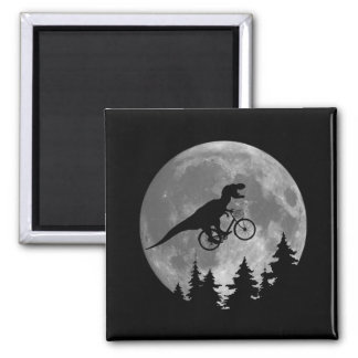 Biker t rex In Sky With Moon 80s Parody 2 Inch Square Magnet