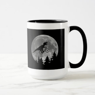 Biker t rex In Sky With Moon 80s Parody Mug