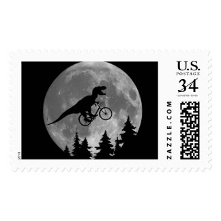 Biker t rex In Sky With Moon 80s Parody Postage
