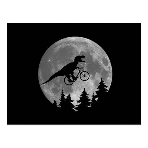 Biker t rex In Sky With Moon 80s Parody Postcard