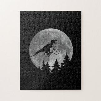 Biker t rex In Sky With Moon 80s Parody Puzzle