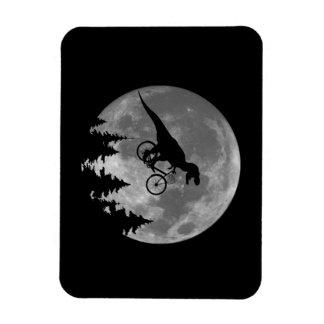 Biker t rex In Sky With Moon 80s Parody Rectangular Photo Magnet