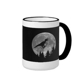 Biker t rex In Sky With Moon 80s Parody Ringer Coffee Mug