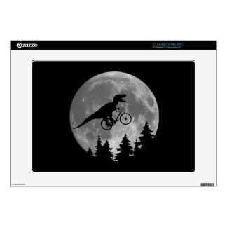 "Biker t rex In Sky With Moon 80s Parody Skins For 15"" Laptops"