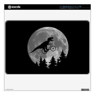 Biker t rex In Sky With Moon 80s Parody Skins For MacBook