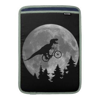 Biker t rex In Sky With Moon 80s Parody Sleeve For MacBook Air