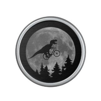 Biker t rex In Sky With Moon 80s Parody Speaker