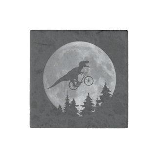 Biker t rex In Sky With Moon 80s Parody Stone Magnet