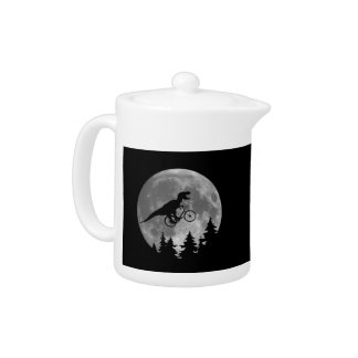 Biker t rex In Sky With Moon 80s Parody Teapot